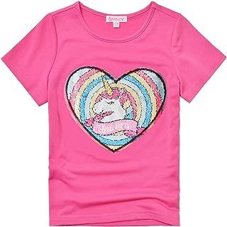 Flip Sequin Unicorn Shirt for Girls Short Sleeve Summer Tops Clothing for Girls