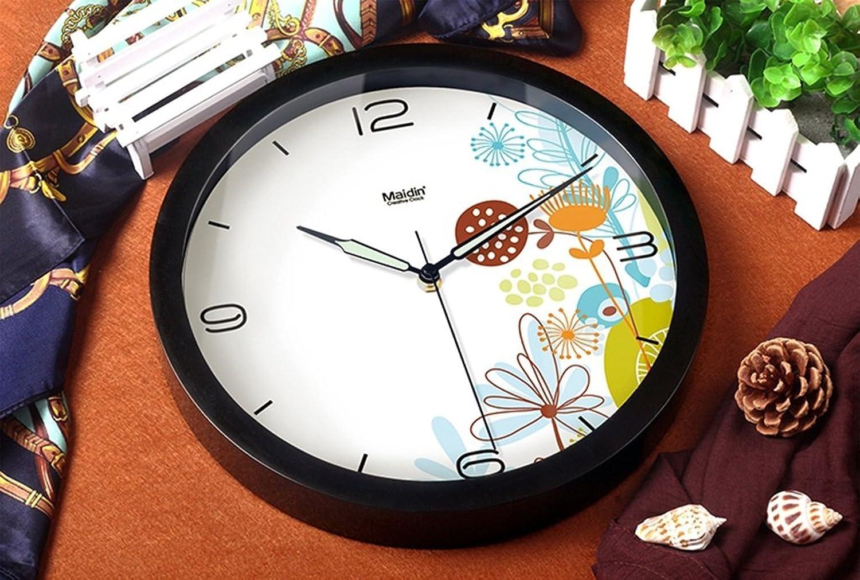 Wall clock Mute Relojes Luminosos Reloj de Parojo Salón Dormitorio Creative Gran Colgante Reloj Moderno Reloj de Cuarzo (Color   Negro, Tamao   35  35cm)