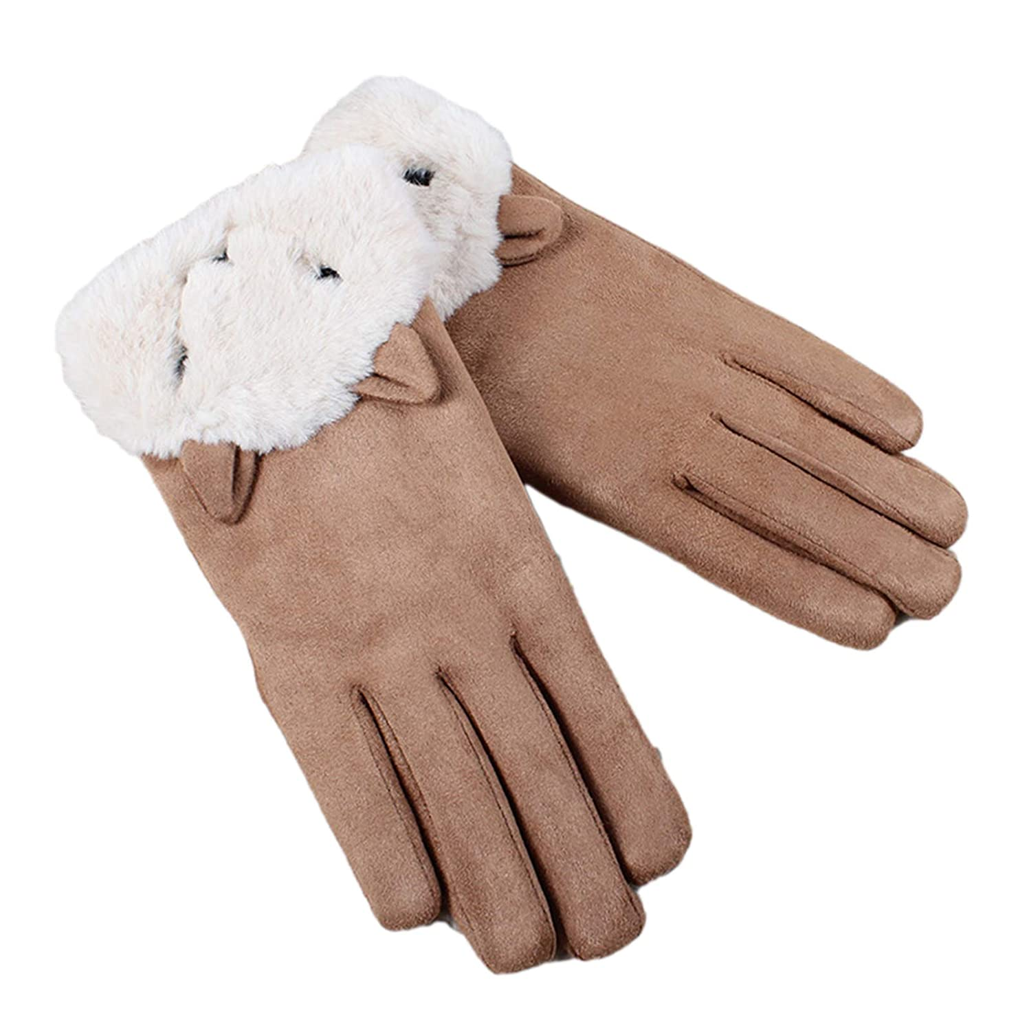 muxiLH Women Winter Windproof Outdoor Driving Cycling Touch Screen Plus Velvet Thickened Warm Wind and Cold Suede Ladies Gloves Khaki One Size