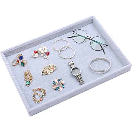 Velvet Jewelry Tray Showcase Display Organizer for Ring Earring Necklace