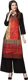 Florence Women's Red Crepe Digital Print Stitched Palazzo Kurta(FL-KT-140-PZ-06)