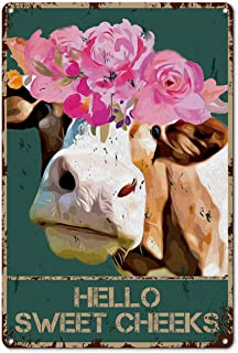 Funny Bathroom Quote Metal Tin Sign Wall Decor - Vintage Hello Sweet Cheeks Cow with Flowers Tin Sign for Toilet Bathroom ...