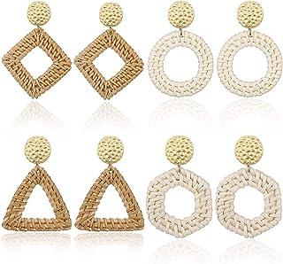 AIDSOTOU Rattan Earrings for Women Lightweight Geometric Statement Earrings Handmade Straw Wicker Braid Rhombus Hoop Drop Dangle Earrings 2-4 Pairs