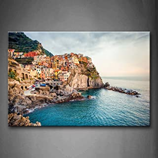 Manarola Sea Mediterranean Wall Art Painting Pictures Print On Canvas City The Picture..