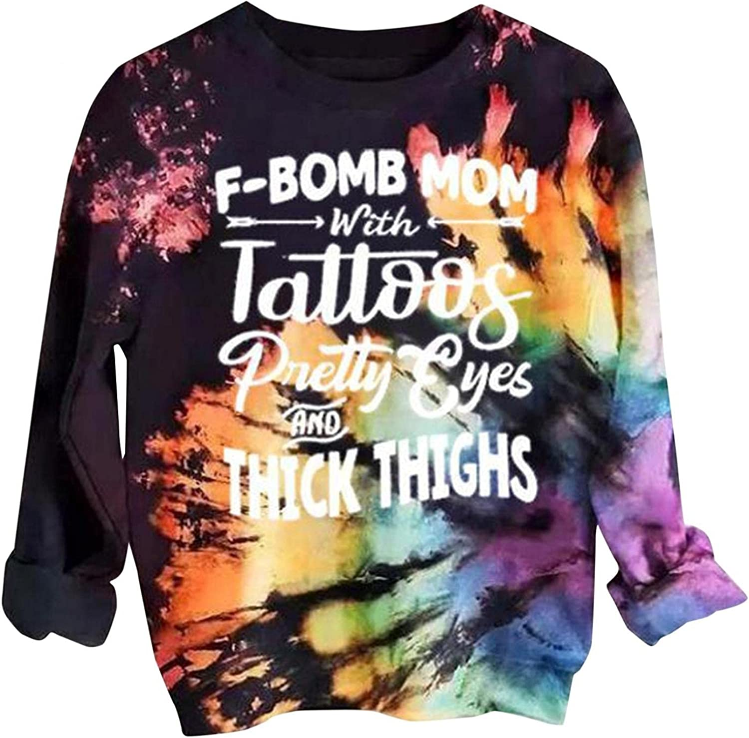 AODONG Sweatshirt for Women Halloween Tie Dye Rainbow O-Neck Comfy Loose Fit Tops Long Sleeves Pullover Shirts