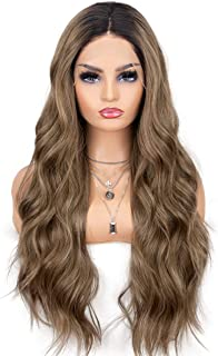 K'ryssma Brown Lace Front Wigs Ombre Dark Roots Natural Looking Glueless Long Wavy Synthetic Wig for Women 2 Tone Heat Res...