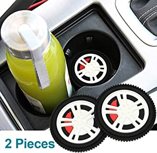 monochef Auto Sport 2.75 Inch Diameter Oval Tough Car Logo Vehicle Travel Auto Cup Holder Insert Coaster Can 2 Pcs Pack Tire Pattern Car Accessory