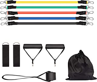 11Pcs Resistance Bands Set Workout Brand with 5 Stackable Exercise Bands Up to 105Lbs, Door Anchor, Handles and Ankle Stra...