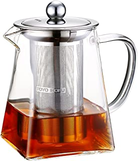 TOYO HOFU Tea Pot with Infusers for Loose Tea, Clear Glass Teapot Stovetop Safe with Removable 304 Stainless Steel Infuser,600 ml/20 oz