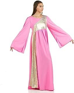 Womens Shimmery Asymmetrical Bell Sleeve Dance Dress