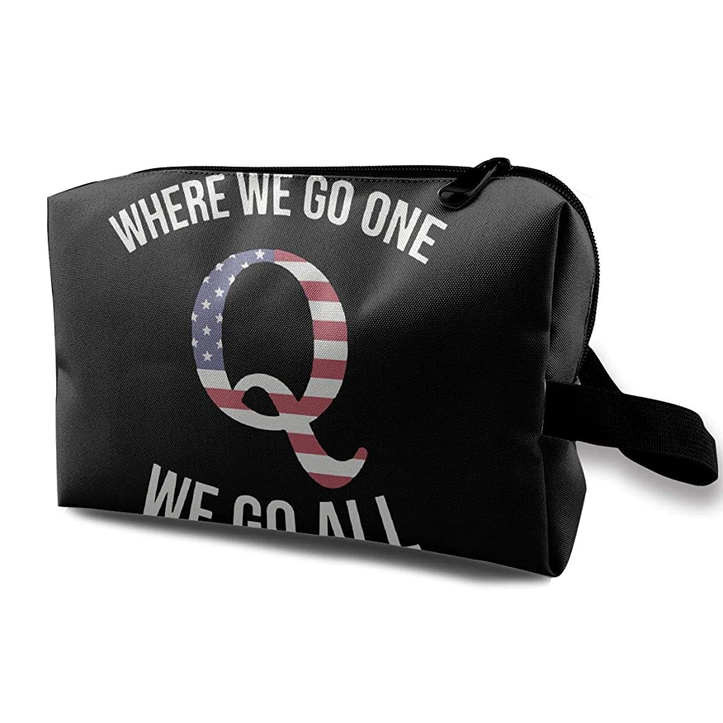 Q Anon Where We Go One We Go All アメリカ フラッグ メイクポーチ 化粧ポーチ 機能的 大容量 メイクブラシバッグ 収納バッグ トラベルバッグ メイクブラシ 化粧道具 洗面用具入れ 防水 小物入れ 旅行 出張 耐久性