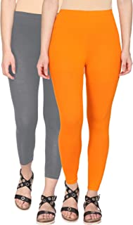 9ee9f651add66 Alena Cotton Lycra Women Steel Grey and Burnt Orange Color Ankle Length  Leggings