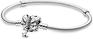 Pandora Butterfly Shaped Clasp Snake Bracelet with Cubic Zirconia for Women - Silver