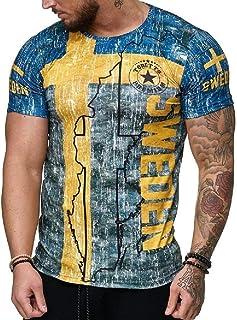 FSSE Men Slim Short Sleeve Bodybuilding Letter Print T-Shirt Tee Top