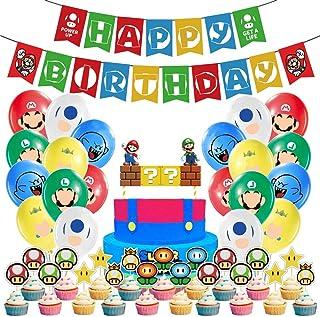 WENTS Super Mario Decoración para Fiestas de Cumpleaños con Globos Banderín Feliz Cumpleaños Tarjetas de Tarta Adornos de ...