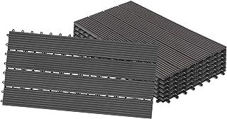 LZQ WPC kliktegels, terrastegels, houtlook, filterbaar water, kunststof, tegels, totaal 2 m², voor tuin, balkon, terras, 3...