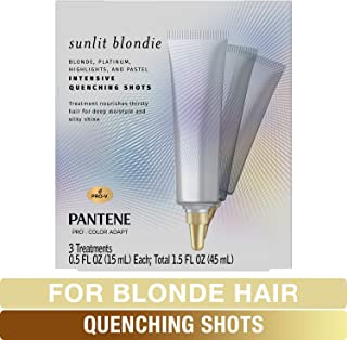 Pantene Sunlit Blondie Intensive Quenching Shots, for Blonde Dyed Hair, Moisturizing Hair Treatment, 0.5 Fl Oz (Pack Of 3)