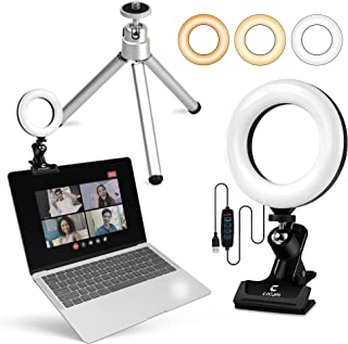 LED Ring Light for Laptop & computer [Upgraded 2022 + eBook] 6 inch webcam light with clip and tripod, Distance Learning,Z...