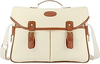 Kattee Fashion PU Leather Canvas DSLR Camera Shoulder Bag for Canon Nikon, etc (Large, Apricot)
