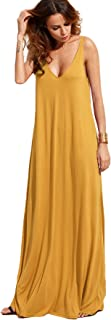 Women's Casual Sleeveless Deep V Neck Summer Beach Maxi Long Dress