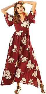 Milumia Women Boho Flounce Sleeve Floral Print V Neck Party Maxi Dress