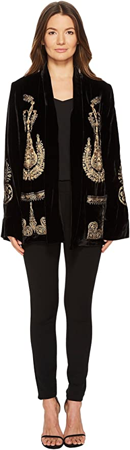 Long Velvet Jacket with Gold Embroidery