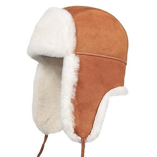f64e15e8d57 Zavelio Unisex Shearling Sheepskin Leather Aviator Russian Ushanka Trapper  Winter Fur Hat