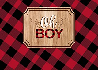 Aperturee Oh Boy Baby Shower Backdrop, 7x5ft Rustic Lumberjack Red Black Plaid Photography Background Photos Newborn 1st Birthday Decor Photo Studio Props Party Decoration Banner Supplies