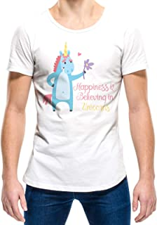 Upteetude Happiness is believing in unicorns Unisex T-Shirt - White