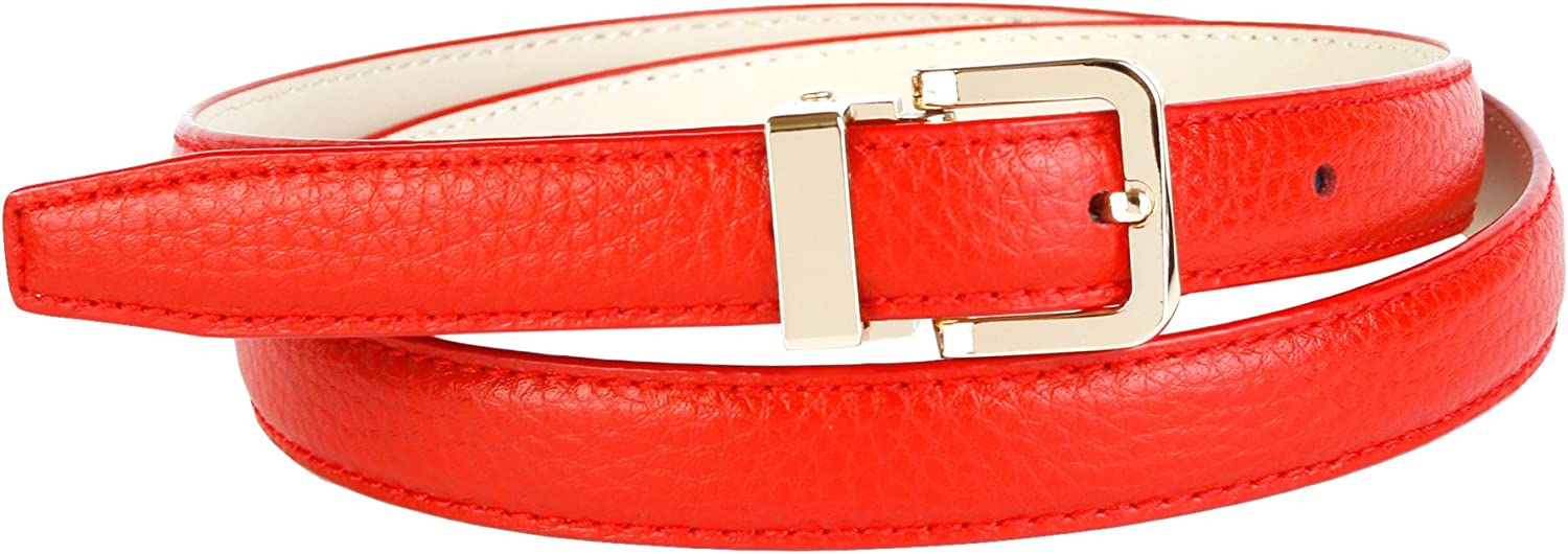 Anthoni Crown Leather Ladies Belt 0,8  Width RED with gold Metallic Buckle 34 44