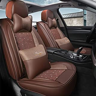 AXZT Automotive Seat Covers Leather ice Silk Four Seasons Universal Car Seat Covers Protectors,Brown