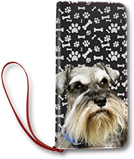 Women's Leather Wallet Long Lady Clutch Purse Print Miniature Schnauzer Dogand Dog Paws, Dog Mom Gifts