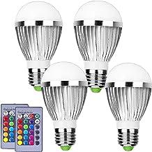 RGB LED-gloeilamp Met Afstandsbediening, Kleurveranderende Gloeilamp, 50W Equivalent, 450LM, Vloed Gloeilamp, 16 Kleurenke...