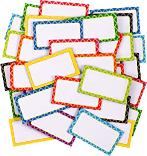 40 Pieces Magnetic Dry Erase Labels Name Plate Labels Writable Flexible Magnet Name Tags Sticky Labels and Stickers for Whiteboards Refrigerator and Crafts, 8 Colors (2.1 x 1.2 Inch)