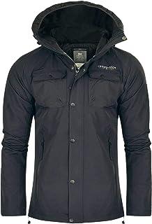 Crosshatch Mens Black Windproof and Waterproof Hooded Jacket Coat Zip Pockets