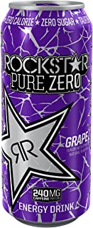 Rockstar Energy Drink Pure Zero, Grape, 24 Count