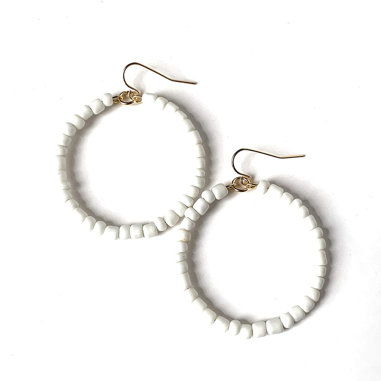 Beaded Hoop Earrings Women for White Limited time Max 59% OFF sale