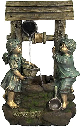 wholesale Sunnydaze online Children 2021 at The Well Outdoor Water Fountain - Patio & Backyard Water Feature with LED Lights - 39 Inch Tall outlet online sale