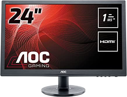 """AOC e2460Sh 24"""" Widescreen TN LED Black Multimedia Monitor (1920x1080/1ms/VGA/DVI-D/HDMI)"""