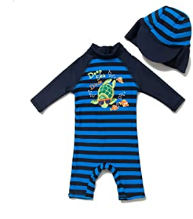 BONVERANO Infant Girls' Swimsuit UPF 50+ Sun Protection S/S One Piece Zip Sunsuit