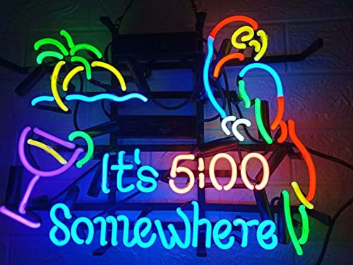 "17/""x14/"" It/'s 5:00 Somewhere Parrot Neon Sign Light Visual Artwork Beer Bar Decor"