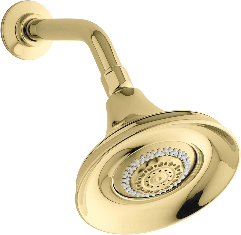 KOHLER K-10284-PB Forte Multifunction Showerhead, Vibrant Polished Brass