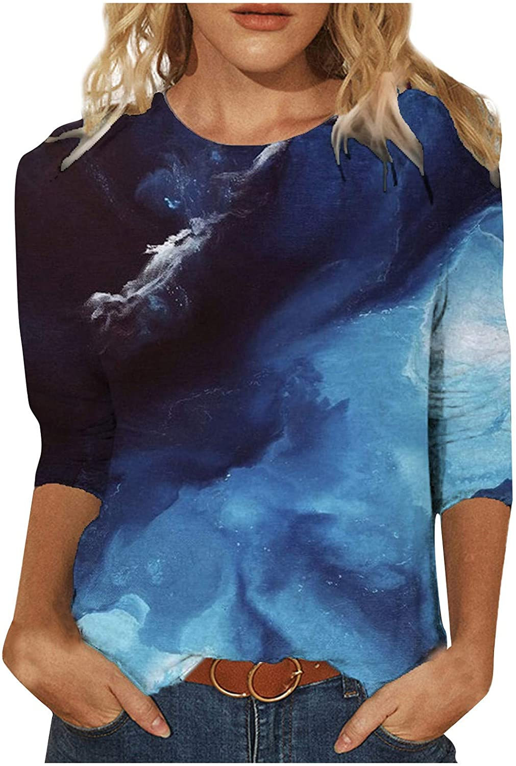 3/4 Sleeve Tops for Women Crewneck Tye Dye Tee Shirts Loose Summer Vintage Pullover Comfy Casual Plus Size Blouse