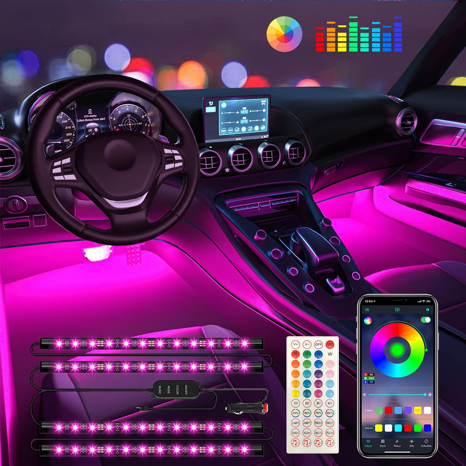 Interior Car Lights Keepsmile Car Accessories Car Led Lights APP Control with Remote Music Sync Color Change RGB Under Dash Car Lighting with Car Charger 12V 2A LED Lights for Car (RGB)