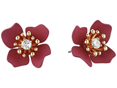 Vince Camuto Flower Stud Earrings (Gold/Crystal/Soft Pink/Metallic Mauve) Earring