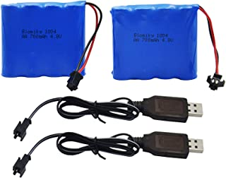 Blomiky 2 Pack 4.8V 700mAH Ni-Cd Battery Pack and 2 USB Charger Cable for Blomiky C181 C182 C185 1/18 Scale RC Truck C181 ...