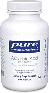 Pure Encapsulations - Ascorbic Acid Capsules - Hypoallergenic Vitamin C Supplement for Antioxidant Support* - 90 Capsules