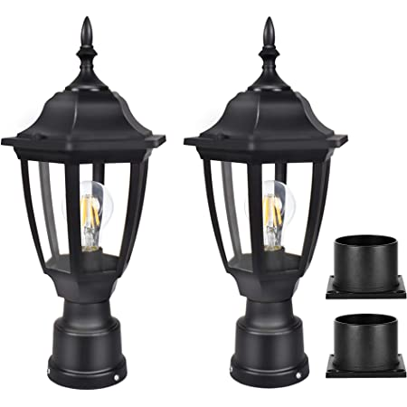 Nuvo Lighting Three Light Post Lantern Black 2 Pack