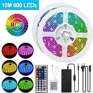 Tiras LED RGB 10m 600 LEDs, ERAY Luces LED RGB LED 5050, Impermeable IP65, Control Remoto de 44 Teclas, Función de Memoria, Multicolores, Ideal para la Decoración de Hogar, Bares, Tienda
