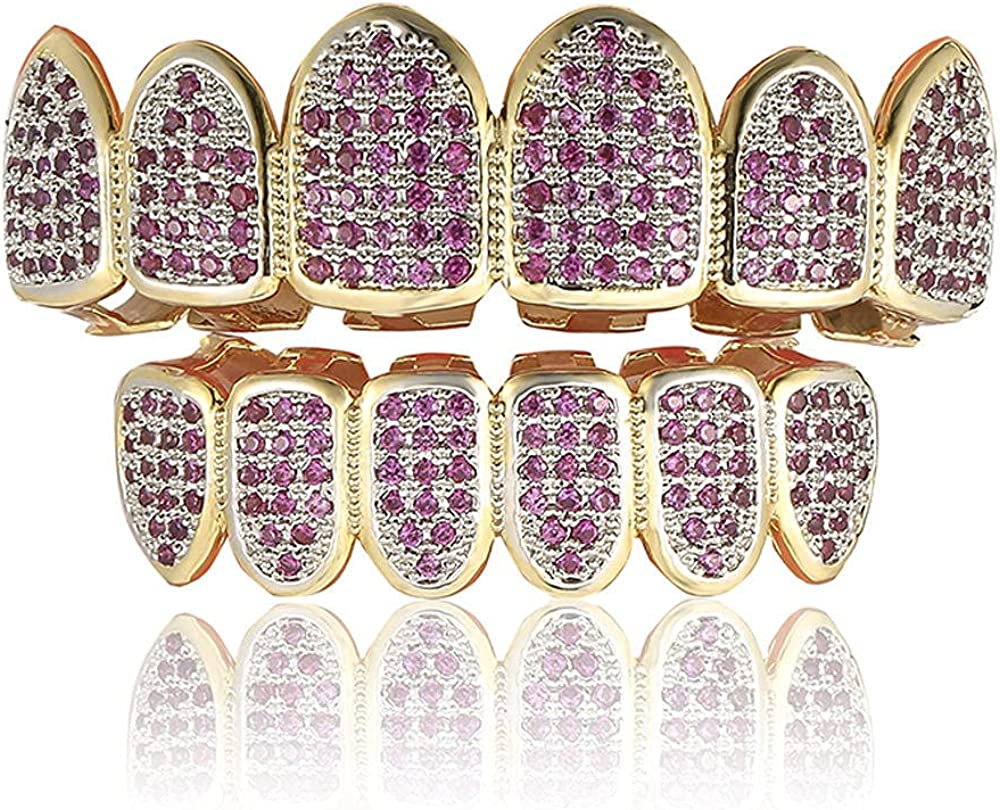 Hip Hop Teeth Hip-hop gold braces rose red micro-inlaid zircon gold-plated hip-hop braces